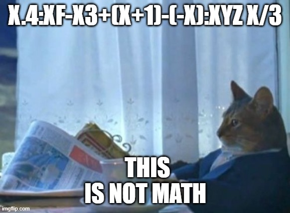 Gato |  X.4:XF-X3+(X+1)-(-X):XYZ X/3; THIS IS NOT MATH | image tagged in memes,i should buy a boat cat | made w/ Imgflip meme maker