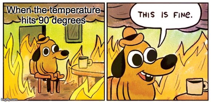 My town right now! |  When the temperature hits 90 degrees | image tagged in memes,this is fine,summer,weather,hot,90 degrees | made w/ Imgflip meme maker