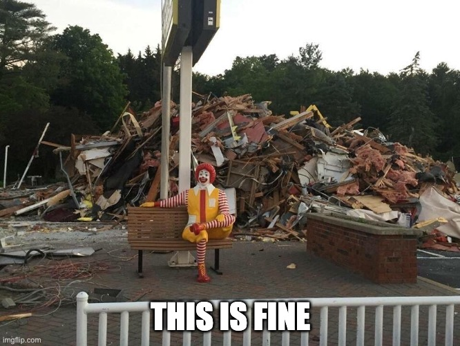 This is fine - McD Version |  THIS IS FINE | image tagged in this is fine,mcdonalds | made w/ Imgflip meme maker