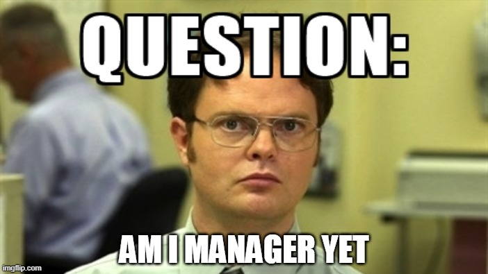 only office fans will understand |  AM I MANAGER YET | image tagged in theoffice | made w/ Imgflip meme maker
