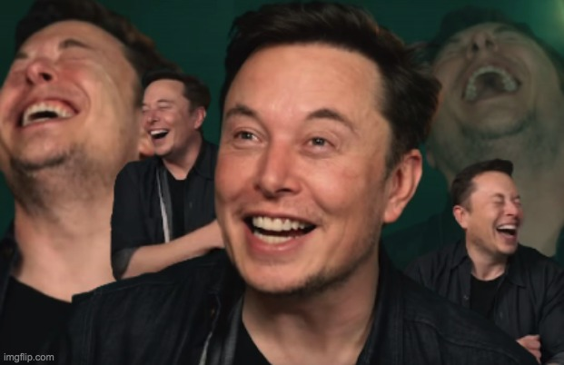Elon Musk Laughing | image tagged in elon musk laughing | made w/ Imgflip meme maker