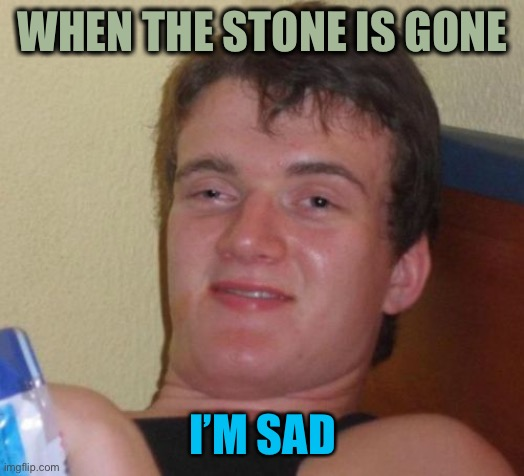 10 Guy Meme | WHEN THE STONE IS GONE I'M SAD | image tagged in memes,10 guy | made w/ Imgflip meme maker