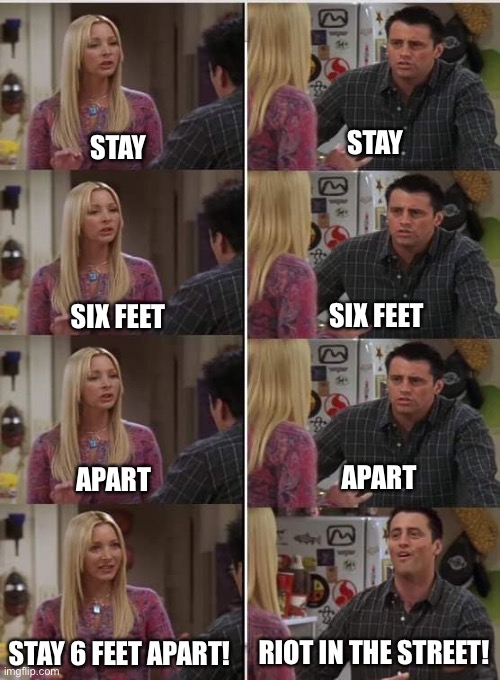 Friends Joey teached french |  STAY; STAY; SIX FEET; SIX FEET; APART; APART; RIOT IN THE STREET! STAY 6 FEET APART! | image tagged in friends joey teached french | made w/ Imgflip meme maker