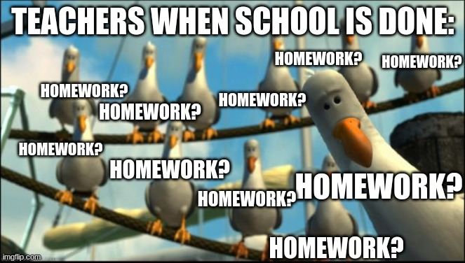 mines always late.......... |  TEACHERS WHEN SCHOOL IS DONE:; HOMEWORK? HOMEWORK? HOMEWORK? HOMEWORK? HOMEWORK? HOMEWORK? HOMEWORK? HOMEWORK? HOMEWORK? HOMEWORK? | image tagged in nemo seagulls mine,teachers,school,homework,seagulls,late | made w/ Imgflip meme maker