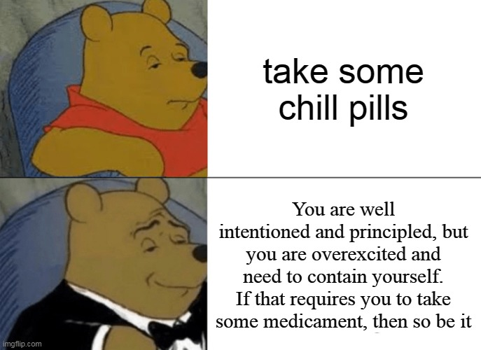 Tuxedo Winnie The Pooh Meme |  take some chill pills; You are well intentioned and principled, but you are overexcited and need to contain yourself. If that requires you to take some medicament, then so be it | image tagged in memes,tuxedo winnie the pooh | made w/ Imgflip meme maker