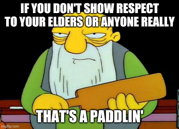 Show some respect to your loved ones |  IF YOU DON'T SHOW RESPECT TO YOUR ELDERS OR ANYONE REALLY; THAT'S A PADDLIN' | image tagged in memes,that's a paddlin',respect | made w/ Imgflip meme maker