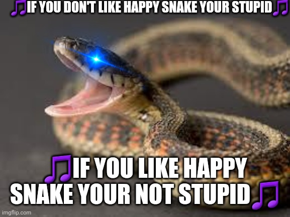 Warning Snake |  🎵IF YOU DON'T LIKE HAPPY SNAKE YOUR STUPID🎵; 🎵IF YOU LIKE HAPPY SNAKE YOUR NOT STUPID🎵 | image tagged in warning snake | made w/ Imgflip meme maker