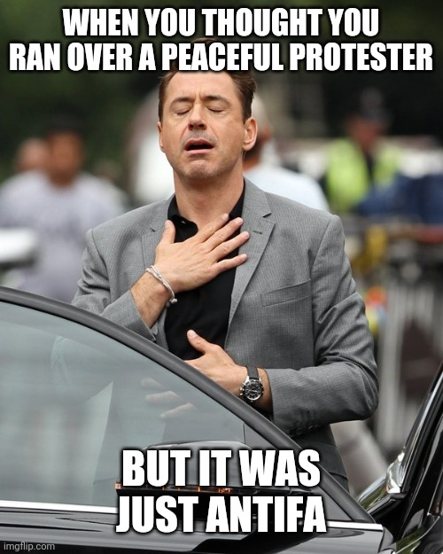 WHEN YOU THOUGHT YOU RAN OVER A PEACEFUL PROTESTER BUT IT WAS JUST ANTIFA | image tagged in relief | made w/ Imgflip meme maker