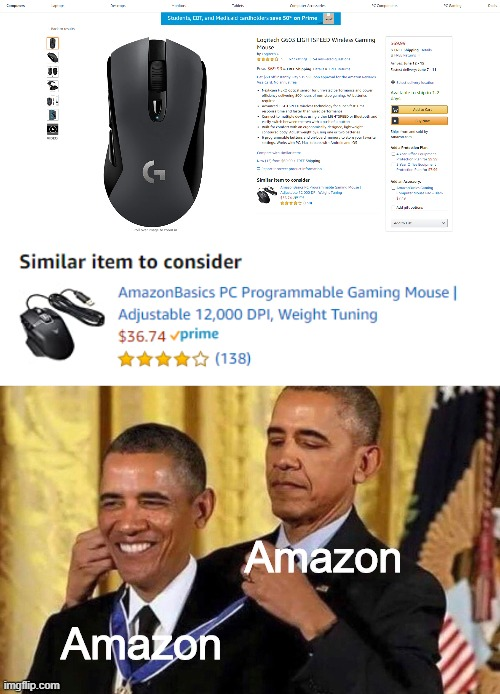 Amazon being full of itself again... |  Amazon; Amazon | image tagged in obama medal,memes,funny,amazon | made w/ Imgflip meme maker