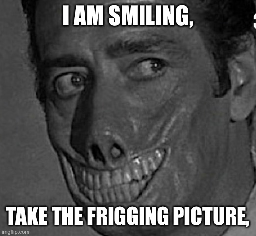 Smile |  I AM SMILING, TAKE THE FRIGGING PICTURE, | image tagged in funny memes | made w/ Imgflip meme maker