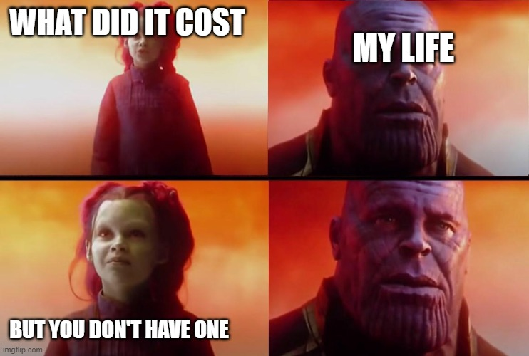 thanos what did it cost |  WHAT DID IT COST; MY LIFE; BUT YOU DON'T HAVE ONE | image tagged in thanos what did it cost | made w/ Imgflip meme maker
