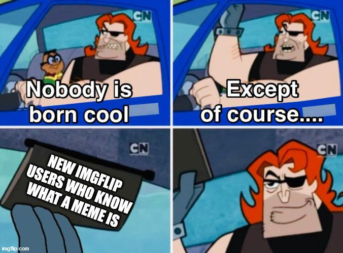 Nobody is born cool |  NEW IMGFLIP USERS WHO KNOW WHAT A MEME IS | image tagged in nobody is born cool | made w/ Imgflip meme maker