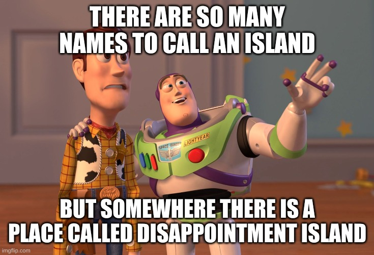 X, X Everywhere Meme |  THERE ARE SO MANY NAMES TO CALL AN ISLAND; BUT SOMEWHERE THERE IS A PLACE CALLED DISAPPOINTMENT ISLAND | image tagged in memes,x x everywhere | made w/ Imgflip meme maker