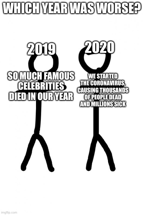 Which year was worse? Featuring stick figures |  WHICH YEAR WAS WORSE? 2019; 2020; SO MUCH FAMOUS CELEBRITIES DIED IN OUR YEAR; WE STARTED THE CORONAVIRUS, CAUSING THOUSANDS OF PEOPLE DEAD AND MILLIONS SICK | image tagged in stick figure,memes,2019,2020 | made w/ Imgflip meme maker