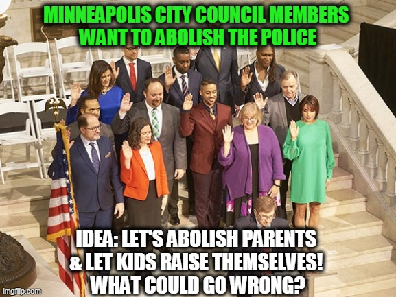 Let's Just Let the Inmates Run the Asylum!! |  MINNEAPOLIS CITY COUNCIL MEMBERS  WANT TO ABOLISH THE POLICE; IDEA: LET'S ABOLISH PARENTS  & LET KIDS RAISE THEMSELVES!  WHAT COULD GO WRONG? | image tagged in politics,political meme,liberal logic,stupid liberals,idiots,wtf | made w/ Imgflip meme maker