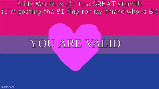 I made this for my friend who is bi! Happy Pride month, everyone!!!!!!!! |  Pride Month is off to a GREAT start!!!!! (I'm posting the BI flag for my friend who is Bi); YOU ARE VALID | image tagged in bi,bisexual,happy,pride,month,everyone | made w/ Imgflip meme maker
