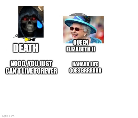 Elizabeth:Hahaha life goes brrrr | image tagged in noooo you can't just,queen elizabeth | made w/ Imgflip meme maker