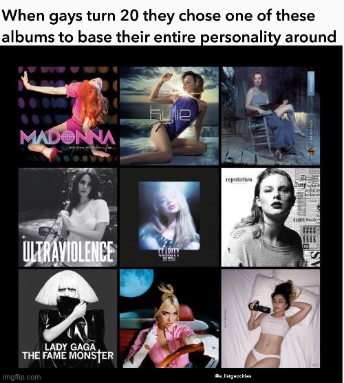 I have no idea whether this is true. Y'all can tell me. | image tagged in gay,album,pop music,personality,music,repost | made w/ Imgflip meme maker