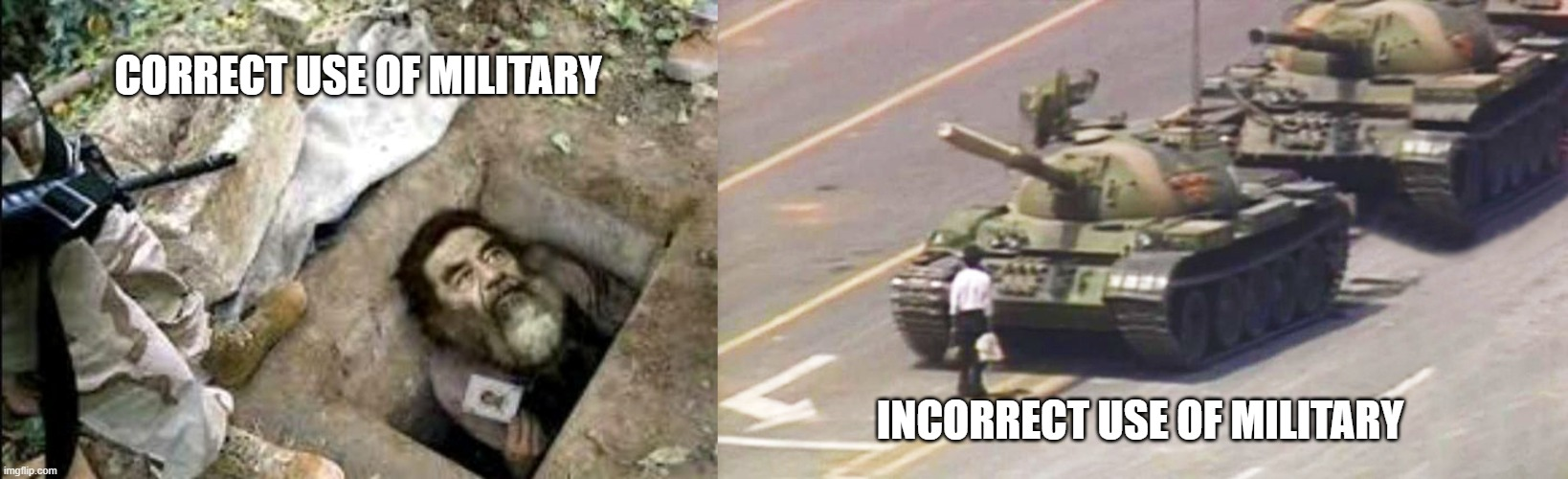 Digging corrupt leaders out of holes is our specialty. |  CORRECT USE OF MILITARY; INCORRECT USE OF MILITARY | image tagged in us military | made w/ Imgflip meme maker