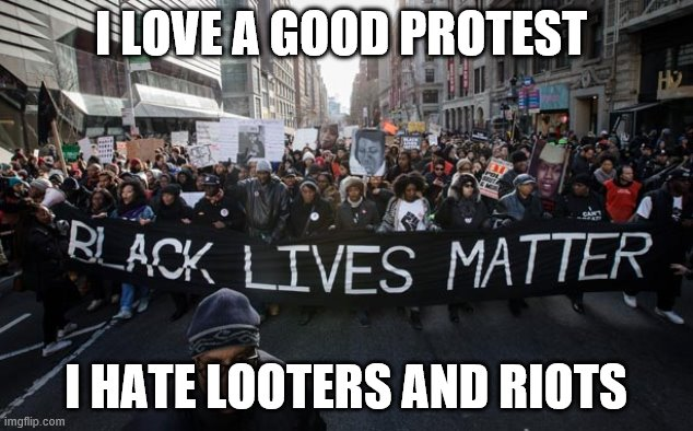blm |  I LOVE A GOOD PROTEST; I HATE LOOTERS AND RIOTS | image tagged in blm | made w/ Imgflip meme maker