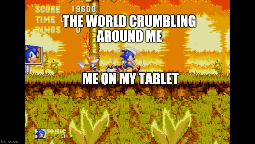 Sonic Jogging In Fire |  THE WORLD CRUMBLING AROUND ME; ME ON MY TABLET | image tagged in sonic jogging in fire,end of the world | made w/ Imgflip meme maker