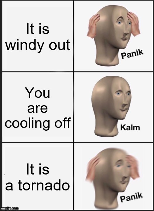 Panik Kalm Panik |  It is windy out; You are cooling off; It is a tornado | image tagged in memes,panik kalm panik,tornado,weather | made w/ Imgflip meme maker