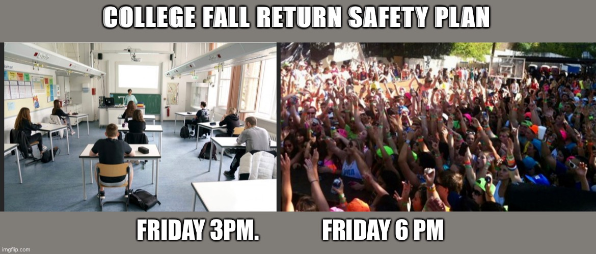 College openings |  COLLEGE FALL RETURN SAFETY PLAN; FRIDAY 3PM.              FRIDAY 6 PM | image tagged in covid-19,college,social distancing | made w/ Imgflip meme maker