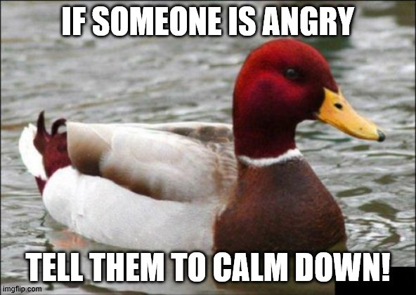 Malicious Advice Mallard |  IF SOMEONE IS ANGRY; TELL THEM TO CALM DOWN! | image tagged in memes,malicious advice mallard | made w/ Imgflip meme maker