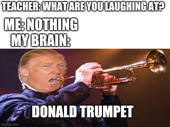 This genre of this meme will never die |  ME: NOTHING; TEACHER: WHAT ARE YOU LAUGHING AT? MY BRAIN:; DONALD TRUMPET | image tagged in donald trump,memes,funny,politics,trump,teacher | made w/ Imgflip meme maker