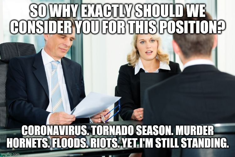 Bring on the Corona Hornets! |  SO WHY EXACTLY SHOULD WE CONSIDER YOU FOR THIS POSITION? CORONAVIRUS. TORNADO SEASON. MURDER HORNETS. FLOODS. RIOTS. YET I'M STILL STANDING. | image tagged in job interview,coronavirus,2020,covid-19,quarantine | made w/ Imgflip meme maker
