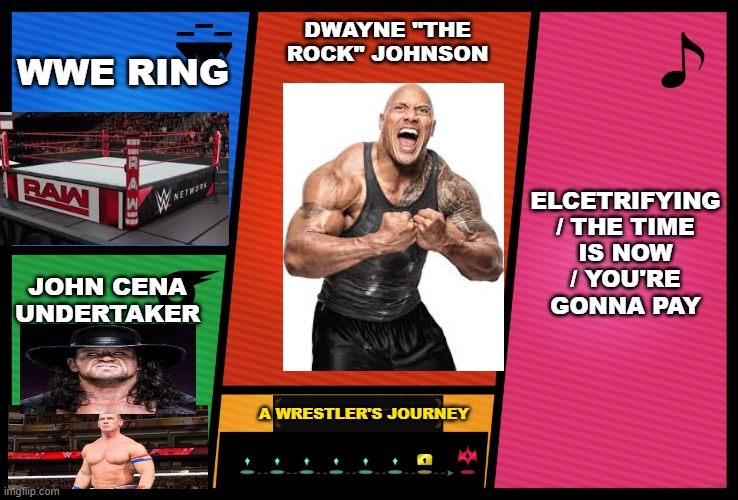 "Rock |  WWE RING; DWAYNE ""THE ROCK"" JOHNSON; ELCETRIFYING / THE TIME IS NOW / YOU'RE GONNA PAY; JOHN CENA UNDERTAKER; A WRESTLER'S JOURNEY 