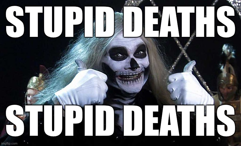 Stupid Deaths | STUPID DEATHS STUPID DEATHS | image tagged in stupid deaths | made w/ Imgflip meme maker