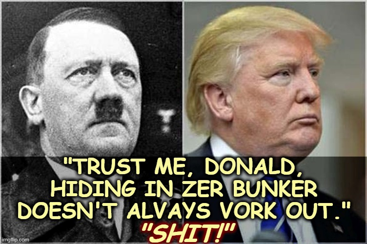 "Ask the man who knows. |  ""TRUST ME, DONALD, HIDING IN ZER BUNKER DOESN'T ALVAYS VORK OUT.""; ""SHIT!"" 