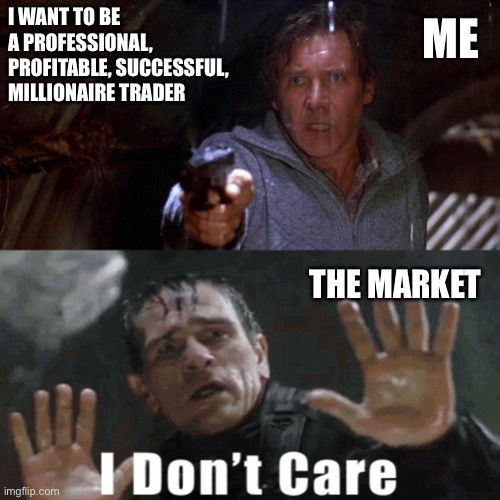The Market doesn't care |  I WANT TO BE A PROFESSIONAL, PROFITABLE, SUCCESSFUL, MILLIONAIRE TRADER; ME; THE MARKET | image tagged in fugitive tlj,trading,market,wall street,money | made w/ Imgflip meme maker