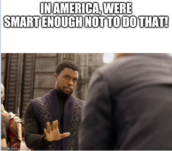 We don't do that here | IN AMERICA, WERE SMART ENOUGH NOT TO DO THAT! | image tagged in we don't do that here | made w/ Imgflip meme maker