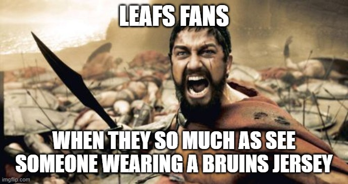 To Bruins fans |  LEAFS FANS; WHEN THEY SO MUCH AS SEE SOMEONE WEARING A BRUINS JERSEY | image tagged in memes,sparta leonidas,sports,sports fans,nhl,toronto maple leafs | made w/ Imgflip meme maker