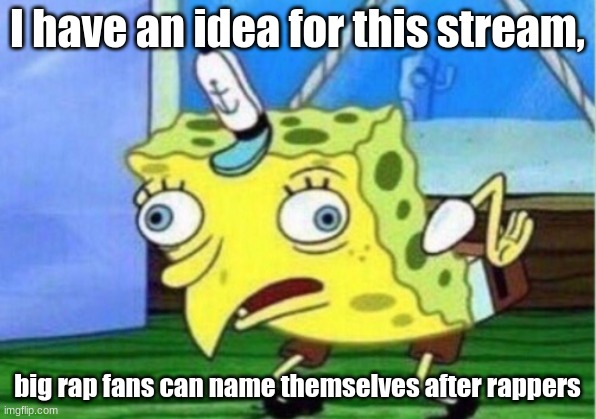 Mocking Spongebob |  I have an idea for this stream, big rap fans can name themselves after rappers | image tagged in memes,mocking spongebob | made w/ Imgflip meme maker