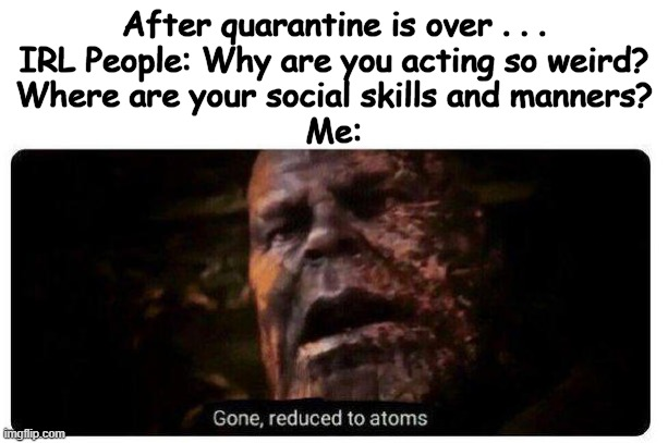 Just Another Trash Meme |  After quarantine is over . . . IRL People: Why are you acting so weird? Where are your social skills and manners? Me: | image tagged in gone reduced to atoms,quarantine,coronavirus,avengers endgame,endgame | made w/ Imgflip meme maker