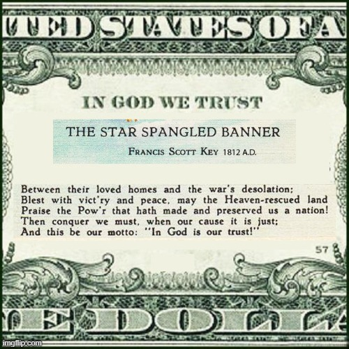In God We Trust | image tagged in in god we trust,communist,in god is our trust,star spangled banner,history | made w/ Imgflip meme maker