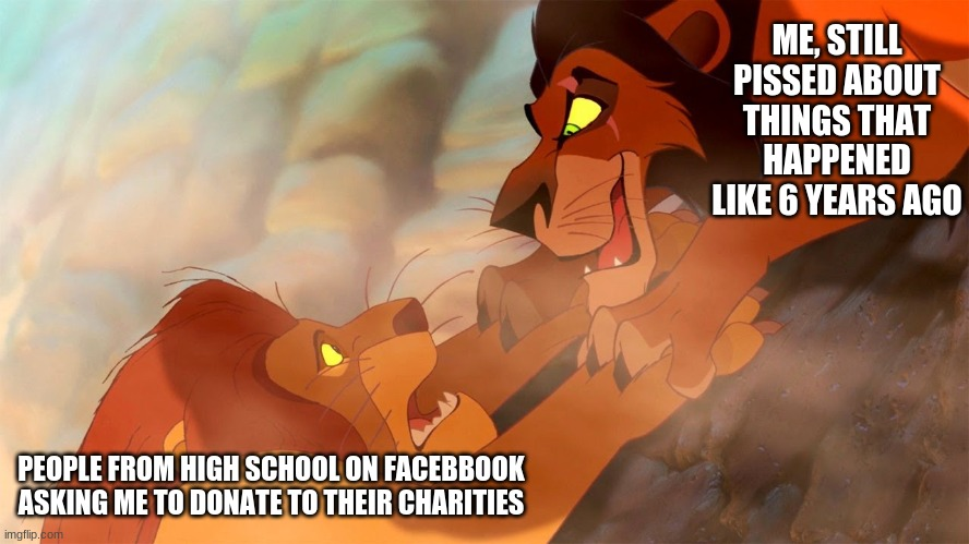 ME, STILL PISSED ABOUT THINGS THAT HAPPENED LIKE 6 YEARS AGO; PEOPLE FROM HIGH SCHOOL ON FACEBBOOK ASKING ME TO DONATE TO THEIR CHARITIES | image tagged in highschool,lion king | made w/ Imgflip meme maker