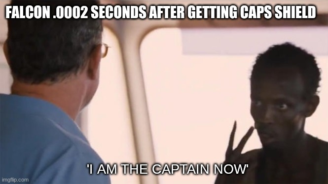 I am the captain now |  FALCON .0002 SECONDS AFTER GETTING CAPS SHIELD; 'I AM THE CAPTAIN NOW' | image tagged in i am the captain now,marvel,endgame,avengers,nut | made w/ Imgflip meme maker