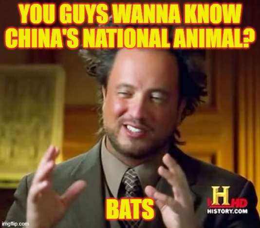 Ancient Bats |  YOU GUYS WANNA KNOW CHINA'S NATIONAL ANIMAL? BATS | image tagged in memes,ancient aliens | made w/ Imgflip meme maker
