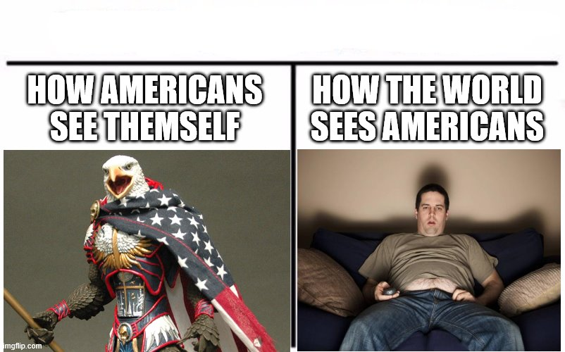 HOW AMERICANS SEE THEMSELF HOW THE WORLD SEES AMERICANS | made w/ Imgflip meme maker