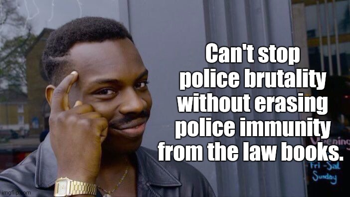 Goerge Floyd |  Can't stop police brutality without erasing police immunity from the law books. | image tagged in memes,roll safe think about it,police brutality,protesters,donald trump,black lives matter | made w/ Imgflip meme maker