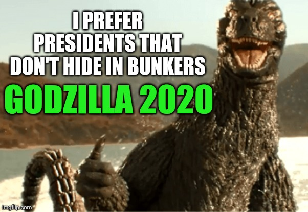 Godzilla 2020 bunker boy |  I PREFER PRESIDENTS THAT DON'T HIDE IN BUNKERS; GODZILLA 2020 | image tagged in godzilla | made w/ Imgflip meme maker