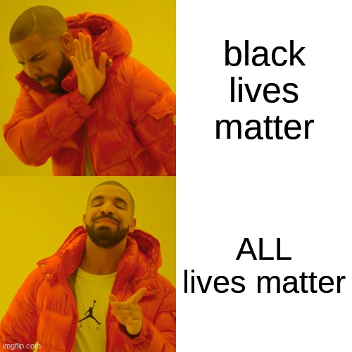 drakes agrees |  black lives matter; ALL lives matter | image tagged in memes,drake hotline bling,all lives matter | made w/ Imgflip meme maker