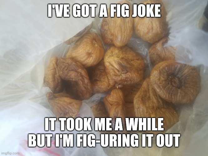 Fig joke |  I'VE GOT A FIG JOKE; IT TOOK ME A WHILE BUT I'M FIG-URING IT OUT | image tagged in fig,joke,fruit | made w/ Imgflip meme maker
