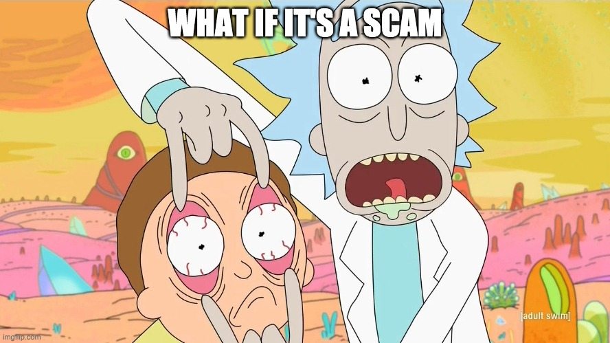 Rick and Morty Scam | WHAT IF IT'S A SCAM | image tagged in rick and morty scam | made w/ Imgflip meme maker