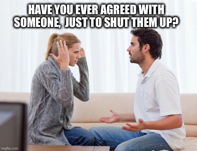argue,memes |  HAVE YOU EVER AGREED WITH SOMEONE,  JUST TO SHUT THEM UP? | image tagged in arguing,couple,married,quiet,argue,yelling | made w/ Imgflip meme maker