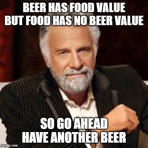 beer value vs food value |  BEER HAS FOOD VALUE BUT FOOD HAS NO BEER VALUE; SO GO AHEAD HAVE ANOTHER BEER | image tagged in dos equis guy awesome | made w/ Imgflip meme maker